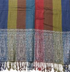 Luxury Banded Silk/Pashmina Shawl